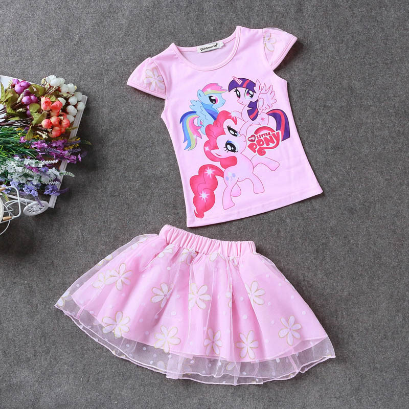 KEAIYOUHUO-Summer-Toddler-Girls-Set-Baby-Kid-Princess-Clothes-Children-Cartoon-Party-pony-lace-dress-cotton-T-Shirt-Skirt-Suit-2
