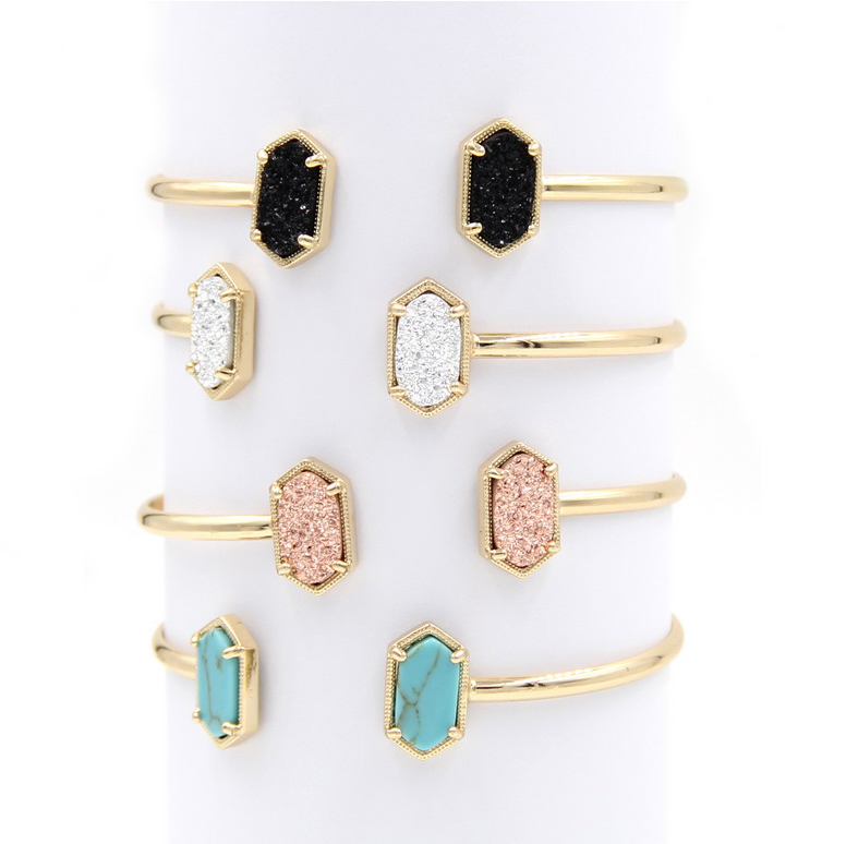 2016 New Cute Oval Quartze Copper Bangles White and Blue green Stone Resin Druzy Cuff Bangles for Women