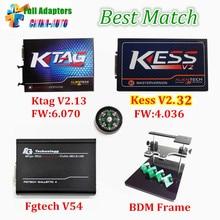 2017 Лучшая Цена ЭКЮ Программист KTAG V2.13 HW V6.070 + KESS V2 V2.32 + V54 FGTECH Galletto 4 FG TECH + BDM РАМА Полный Адаптеры DHL бесплатно