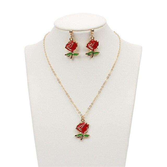 Enamel Rose & Leaves Necklace yAzU95pD