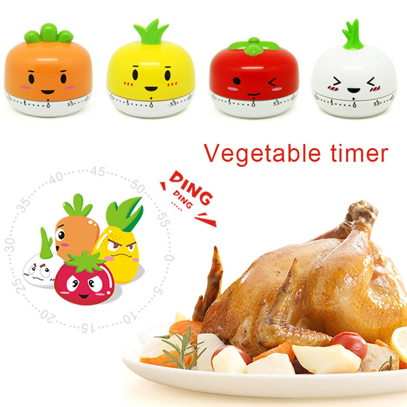 Newly Lovely 60 Min Mechanical Game Count Down Alarm Reminder Vegetable Kitchen Dial Timer Cooking Tools 8 JU07