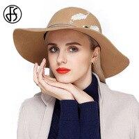 FS Kadın Zarif İngiliz 100% Avustralya Yün Fötr Şapka Keçe Kadınlar için Lady Fransız Sanatçı Kahverengi Siyah Büyük Ağız Şapka Caps