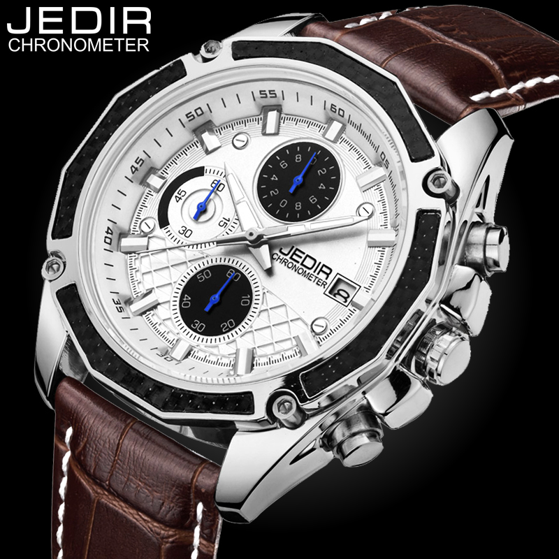 JEDIR Quartz Male Watches Genuine Leather Watches Racing Men Students Game Run Chronograph Watch Male Glow Hands Clock N40 genuine jedir quartz male watches genuine leather watches racing men students game run chronograph watch male glow hands