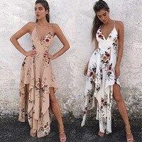 Ruiyige Sexy Backless Print Summer Long Dress Women V Neck Beach Dresses Boho Strap Dress Vintage