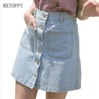 New 2017 Women Summer Skirts Fashion High Waist Skirts Plus Size Mini Jeans Skirt High Quality
