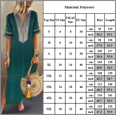 UK Womens Short Sleeve Loose Floral Dress Casual Loose Bagg Maxi Dresses Kaftan