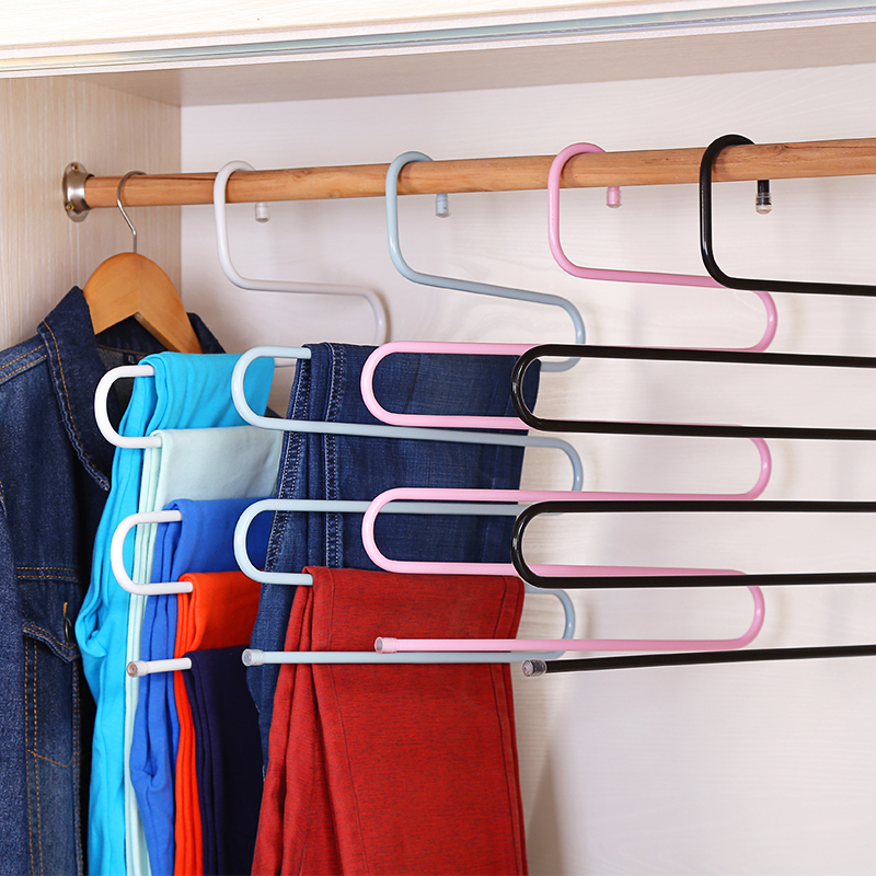 Urijk S Type Multi Function Pants Hanger 5 Layers Hanging Clothing Hanger  Stainless Steel Rack Multilayer Closet Storage Rack