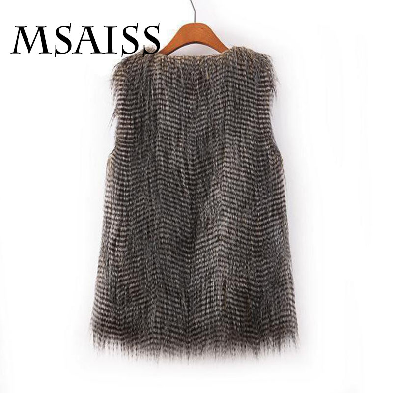 MSAISS Women Winter Mink Fur Waistcoat Jacket Fake Fur Vest Gilet Sleeveless Lapel Outerwear Jacket Keep Warm Coat