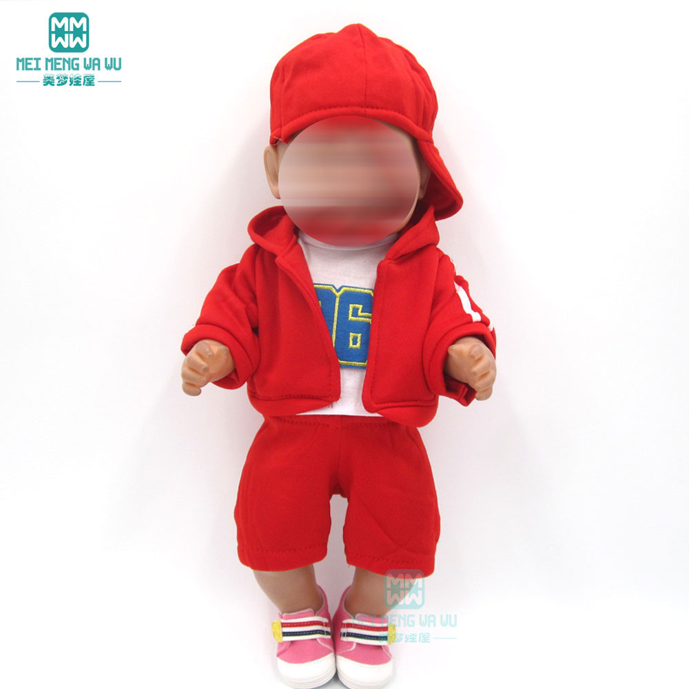 Baby <font><b>clothes</b></font> for <font><b>doll</b></font> fit <font><b>43</b></font> <font><b>cm</b></font> new born <font><b>doll</b></font> Red sportswear <font><b>clothes</b></font> four <font><b>sets</b></font> for Children's birthday gifts image