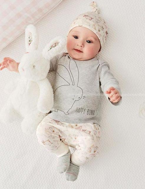 Roupas de bebê moda bebê meninos conjuntos de roupas coelho Dos Desenhos Animados do bebê roupas de menina set t-shirt + calças do bebê + chapéu 3 pcs