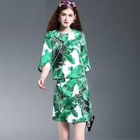 Elegant Woman Sets 2016 Summer New Fashion Runway Palm Leaves Print Half Sleeve Flare Sleeve Top
