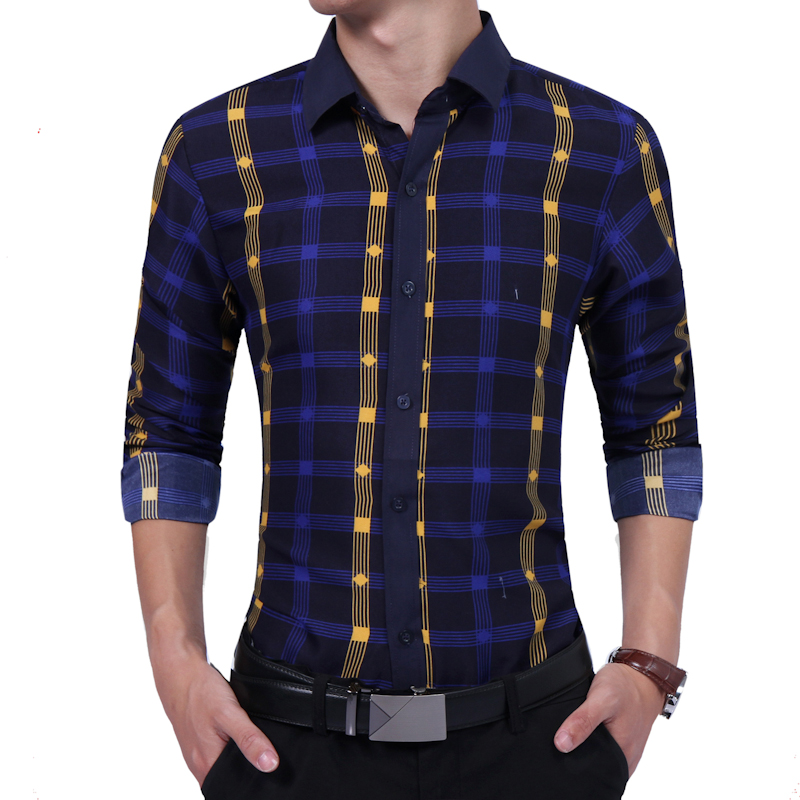 2018 Spring And Autumn Business Leisure MenS Fashion Collision Color Plaid Shirt Boomer British Long Sleeved Shirt Freight Free