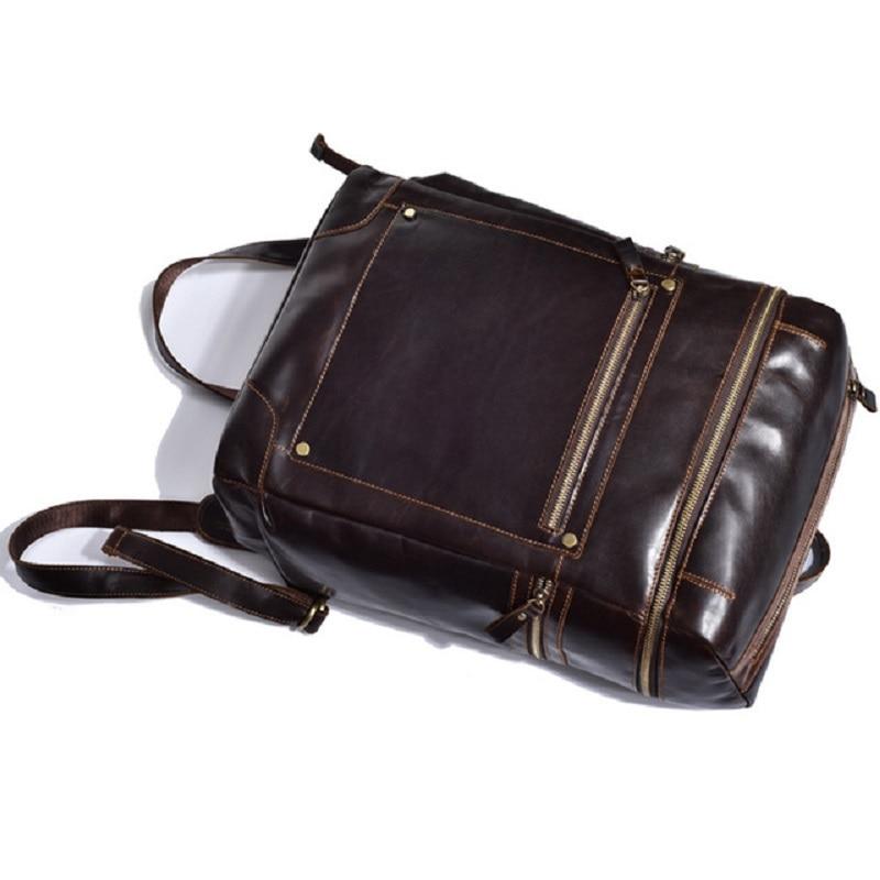 Reisetasche Echte Qualität Kuh Männer Rucksack Multifunktions Hohe Schule Leder Stil Casual Brown Daypacks Dark T022 Tasche Männlichen Laptop ESxqZwwW