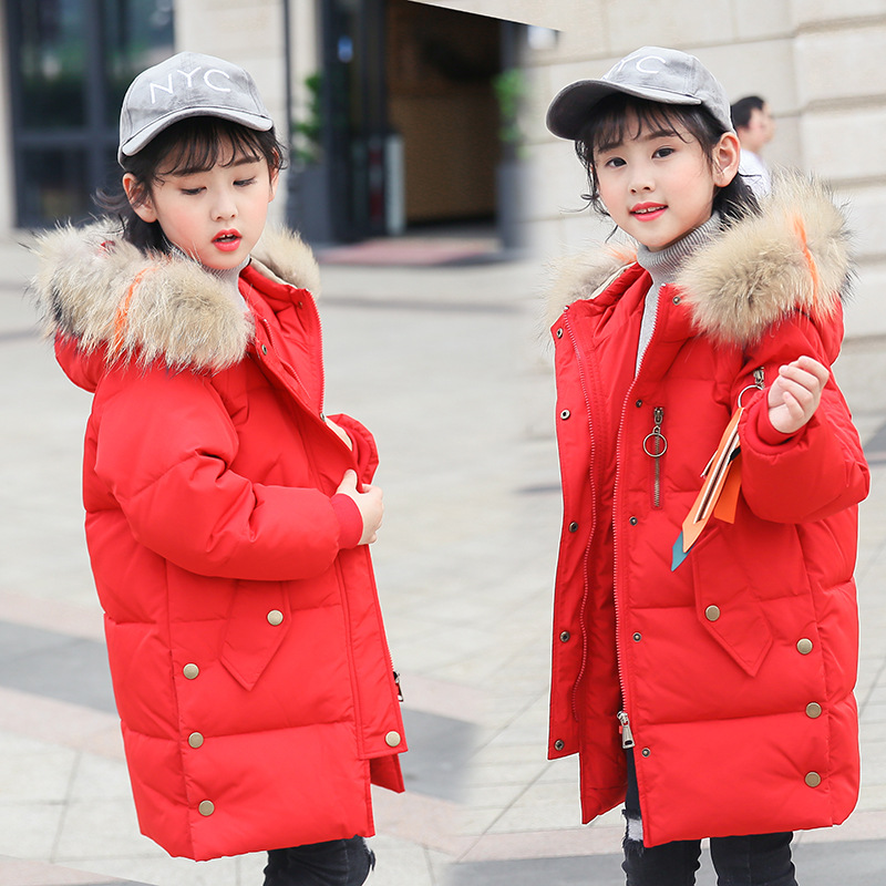 children girls' down jacket thicken warm winter coat girl parkas teenage long jackets raccon fur on hooded down jackets winter jacket female parkas hooded fur collar long down cotton jacket thicken warm cotton padded women coat plus size 3xl k450