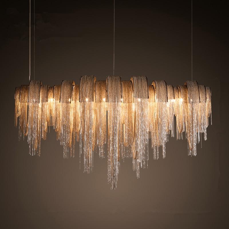 post modern italy tassel pendant lights silver aluminum chain pendant lamp lamparas lustre led. Black Bedroom Furniture Sets. Home Design Ideas