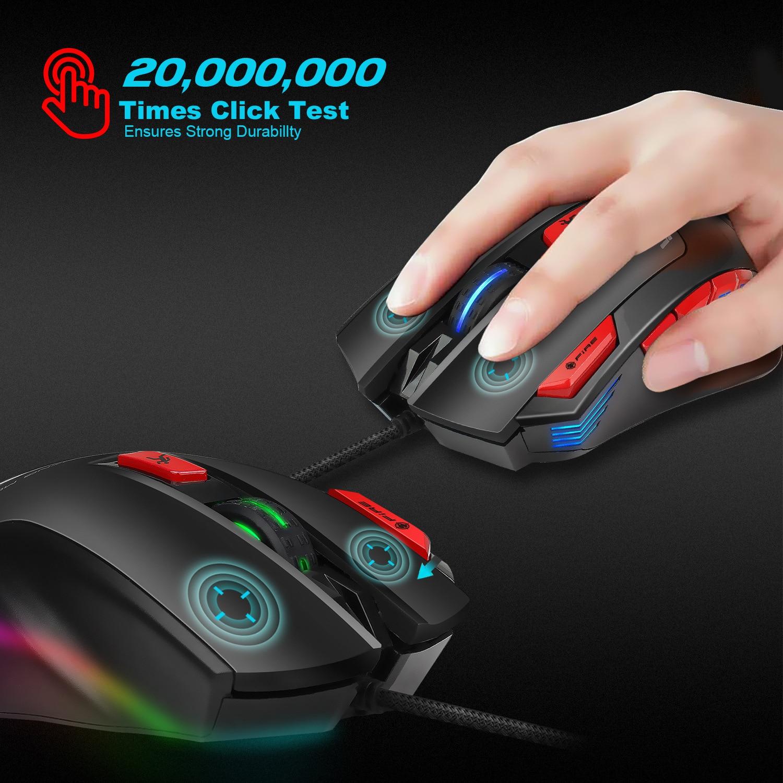 Hongsund Programmable Gaming Mouse 9 key illuminable mouse up to 6000 dpi RGB Backlit USB Wired Optical Gamer 34