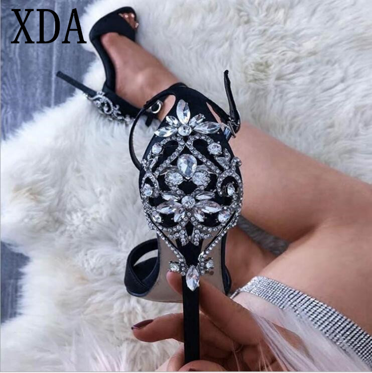 XDA 2019 Sexy luxury rhinestone single shoes Women High Heel Female Shoes Summer woman Peep Toe pumps fashion Sandals E102