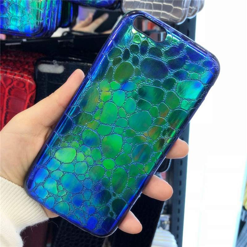 Plating Crocodile Soft Phone Case For iPhone 7 6 6S 8 Plus Fashion Glossy Anti-knock Soft Silicone Cover For iPhone X 7 6