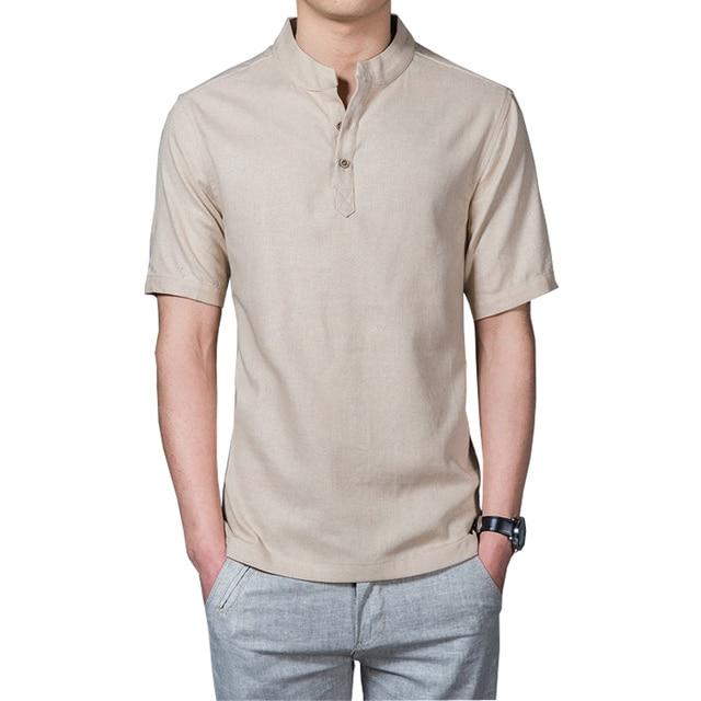 Летний Новый Стиль Лето Мужские Рубашки Повседневные Slim Fit Твердые Коротким Рукавом XXXL Белье Рубашки Мужчин Casal 2017 (азиатский Размер)