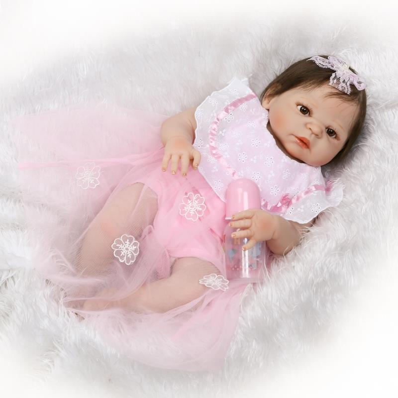 55cm Full Body Silicone Reborn Baby Doll Toys Newborn Bebe Girl Princess Reborn Toddler Dolls Child Gift Bath Toys adorable soft cloth body silicone reborn toddler princess girl baby alive doll toys with strap denim skirts pink headband dolls