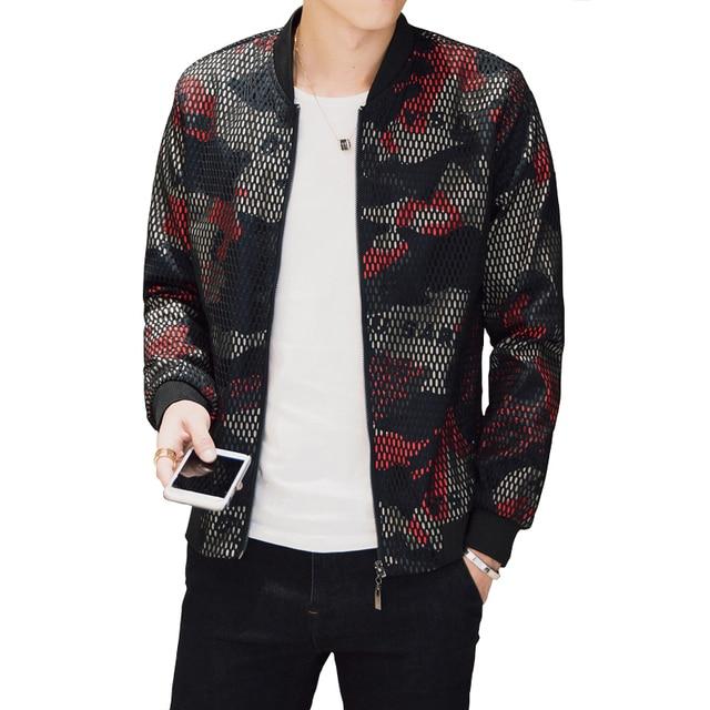 Мода Осень камуфляж печати мужские Куртки выдалбливают Ребро рукав Двойной Пальто мужская одежда