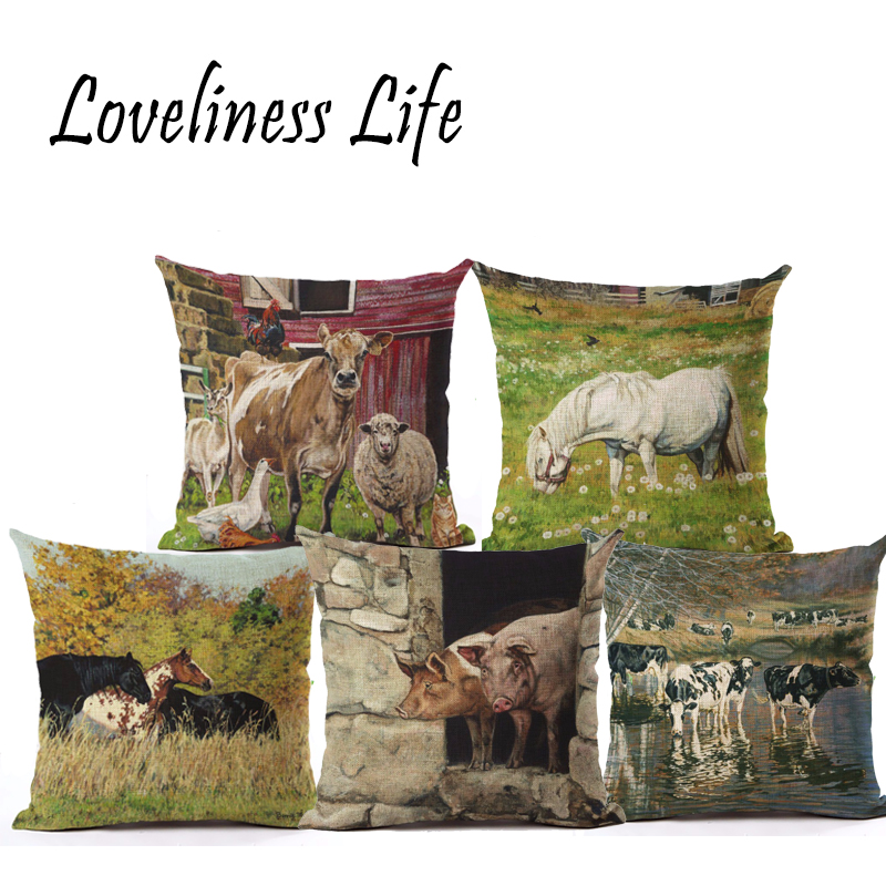 American Village Style Cow Cushion Cover Christmas Deciration Cotton Linen Size 45*45 Printed Throw Pillows Decorative Cojines