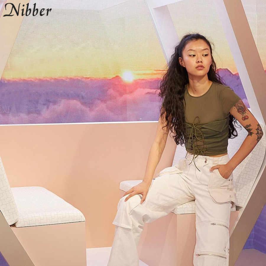 Nibber seksi Mesh vahşi T-Shirt Hipsters dantel üst kadın 2two adet setleri 2019 yaz moda Tees temel rahat ince şeffaf Tshirt