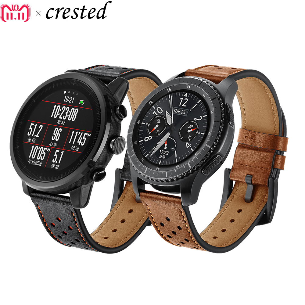 22mm smart watch Strap for Samsung Gear S3 Frontier/Classic Genuine Leather Watchband Xiaomi Huami Amazfit Pace/Stratos 2/1 22mm smart watch strap for samsung gear s3 frontier classic genuine leather watchband xiaomi huami amazfit pace stratos 2 1