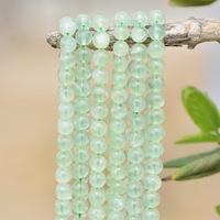 Wholesale New High Quality Natural Prehnit Stone Smooth Round Gem Stone Loose Beads Jewelry Beads For