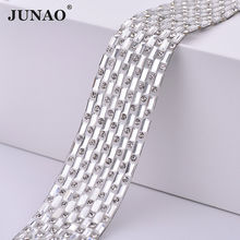 Junao 23 Mm * 1 Meter Hotfix Clear Glas Rhinestone Chain Stof Crystal Lint Trim Ijzer Op Strass Applique Banding voor Kleding(China)
