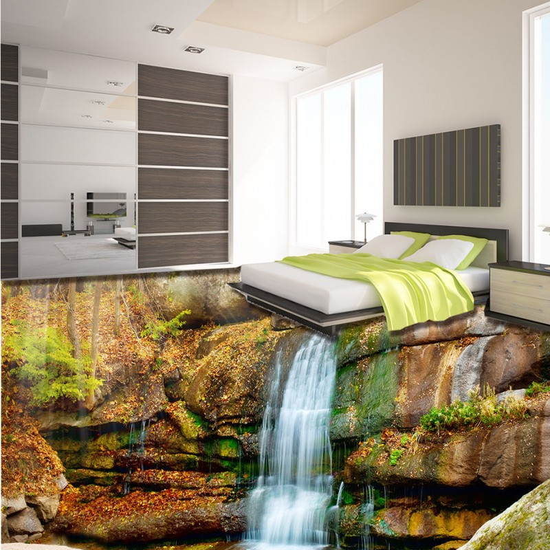ФОТО Free Shipping 3D outdoor beautiful waterfall water painting non-slip bedroom bathroom living room square office flooring mural