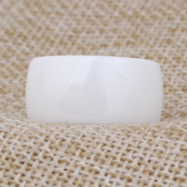 10.5mm Polished White Ceramic Unisex Rings Engagement Wedding Rings
