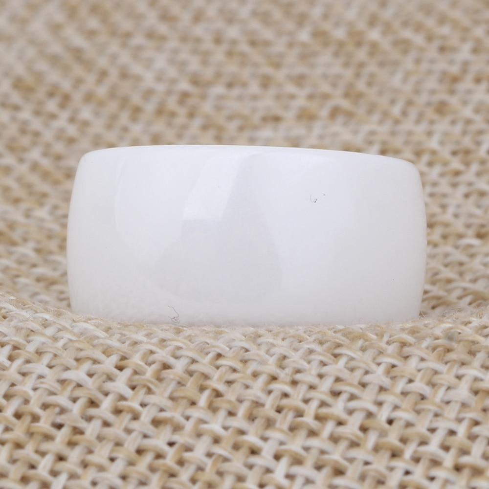 Fashion 10mm Polished White Ceramic Rings For Men Women Engagement Wedding Rings