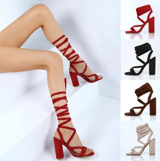 ФОТО sexy chunky high heel woman lace up strap sandal roman style thick high heel woman lace up sandal real photos