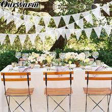 OurWarm 11 Flags White Lace Banner Pennant Strap Garland Wedding Decor Vintage Bunting Birthday Baby Shower Party Decorative DIY