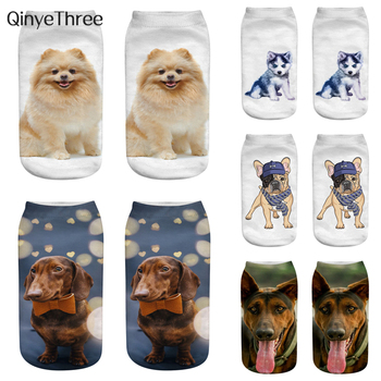 Fashion 3D printing dogs socks Alaska Husky Teddy Bichon Canine Labrador Retriever Golden Samoyed Shepherd Dog Poodle - discount item  35% OFF Women's Socks & Hosiery