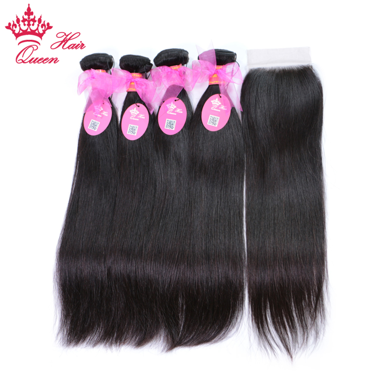 Queen Hair 4 Bundles With Closure Brazilian Hair Bundle With Lace Closure Straight 5Pcs/Lot 100% Human Remy Hair Free Shipping