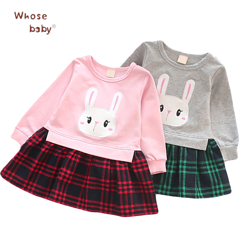 New Autumn Girls Dress Cotton Rabbit Kids Dresses For Girl Lattice Princess Toddler Costume Fashion Spring Children Clothing cartoon princess dress girls costumes flower bow my littl poni wedding dress girl child clothes 2016 new summer children s dress