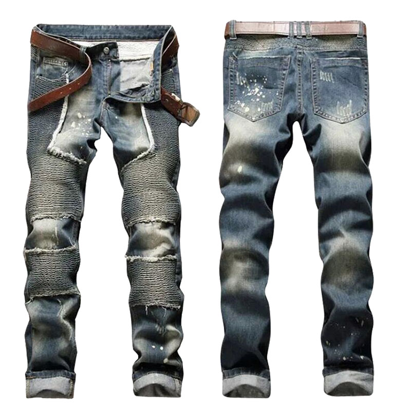 ФОТО European American 2017 Style fashion brand cotton men jeans luxury Men's casual denim trousers zipper Slim  stripes jeans men