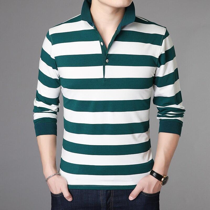 2019 New Fashion Brand   Polo   Shirt Men Top Grade Slim Fit Long Sleeve Mandarin Striped Collar Poloshirt Casual Men Clothing