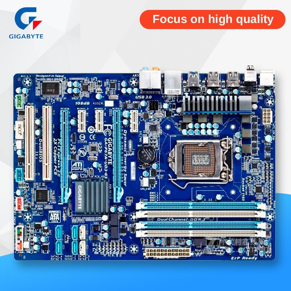 Gigabyte GA-P67A-UD3-B3 Original Used Desktop Motherboard P67A-UD3-B3 P67 LGA 1155 i3 i5 i7 DDR3 32G SATA3 ATX gigabyte ga h61m d2 b3 desktop motherboard h61 socket lga 1155 i3 i5 i7 ddr3 16g u atx original h61m d2 b3 used mainboard