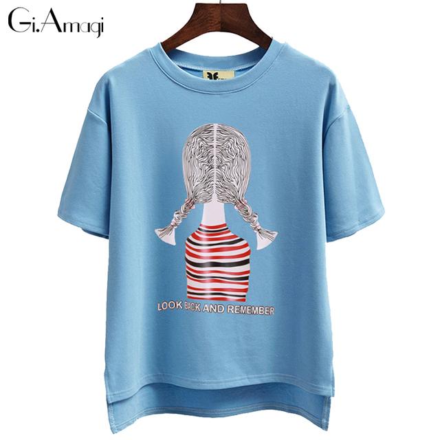 Camisa de T Das Mulheres T-shirt de Algodão Top Poleras de Mujer Manga Curta Tshirt Das Mulheres Mais Grosso Casual Camiseta Femme Camiseta Feminina