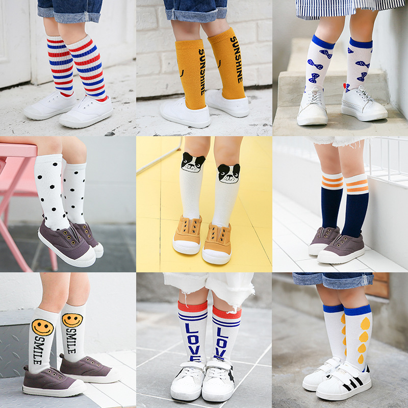 1 PAIR Cute Animals Cotton knee high socks spring fall leg warmers baby socks cute boys girls kids socks anti slip Infantil Sock