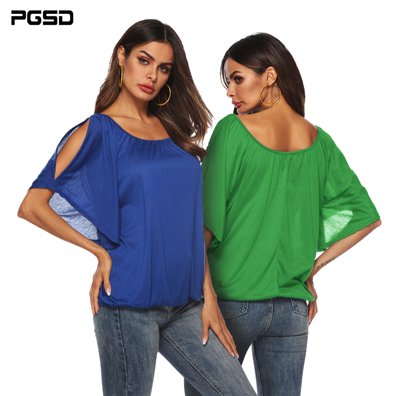 PGSD Summer solid color strapless Bat sleeve pullover Half sleeve O-Neck Irregular female T-shirt Simple Fashion Women Clothes
