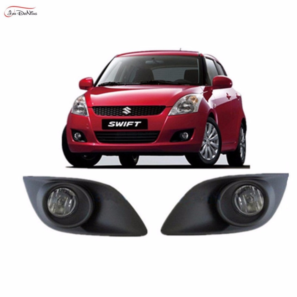JanDeNing Car Fog Lights For Suzuki Swift Hatchback 2011 ~ 2015 Front Fog Lamp Light Lamp Replacement Assembly kit  (one Pair) 12v 55w car fog light assembly for ford focus hatchback 2009 2010 2011 front fog light lamp with harness relay fog light
