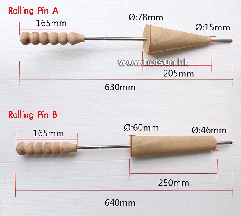 Free Shipping 4pcs Wodden Rolling Pins for  Ice Cream Cone Chimney Cakes and Kurtos Kalacs Roll Grill Oven Machine square pan frozen rolling fried ice cream machine 50cm diameter