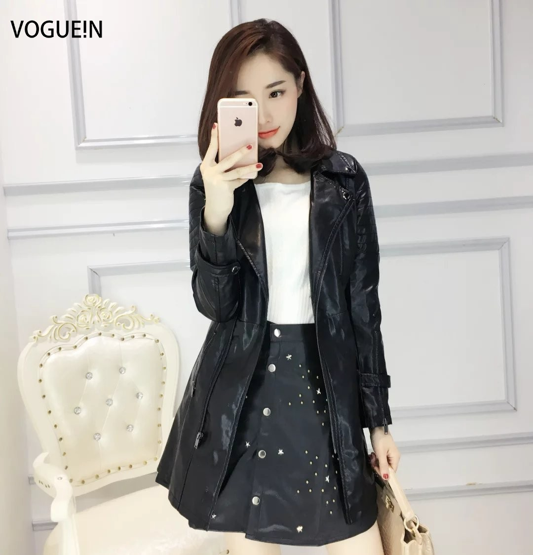 VOGUE!N New Womens Ladies Faux PU   Leather   Motorcycle Biker Long Slim Fit Jacket Coat Size SML