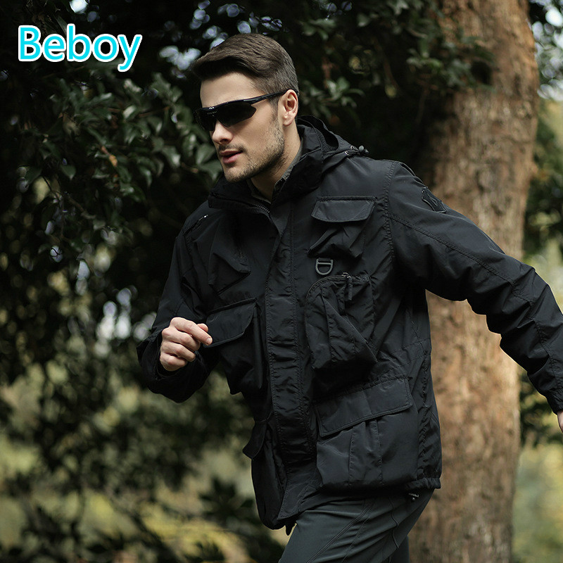 ФОТО Beboy Outdoor Army Military Jacket Men Hiking Jackets Tactical Jacket Outdoor Fishing Camping Trekking Jacket Hunting Clothes