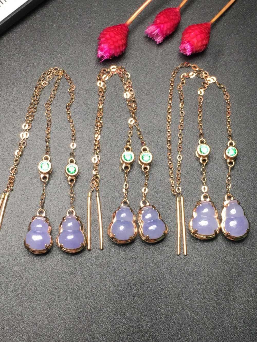 Fine Jewelry kolekcja prawdziwe 18 K żółte złoto AU750 100% naturalny fioletowy Jadi Jade kamień Myanmer pochodzenia spadek kolczyki dla kobiety
