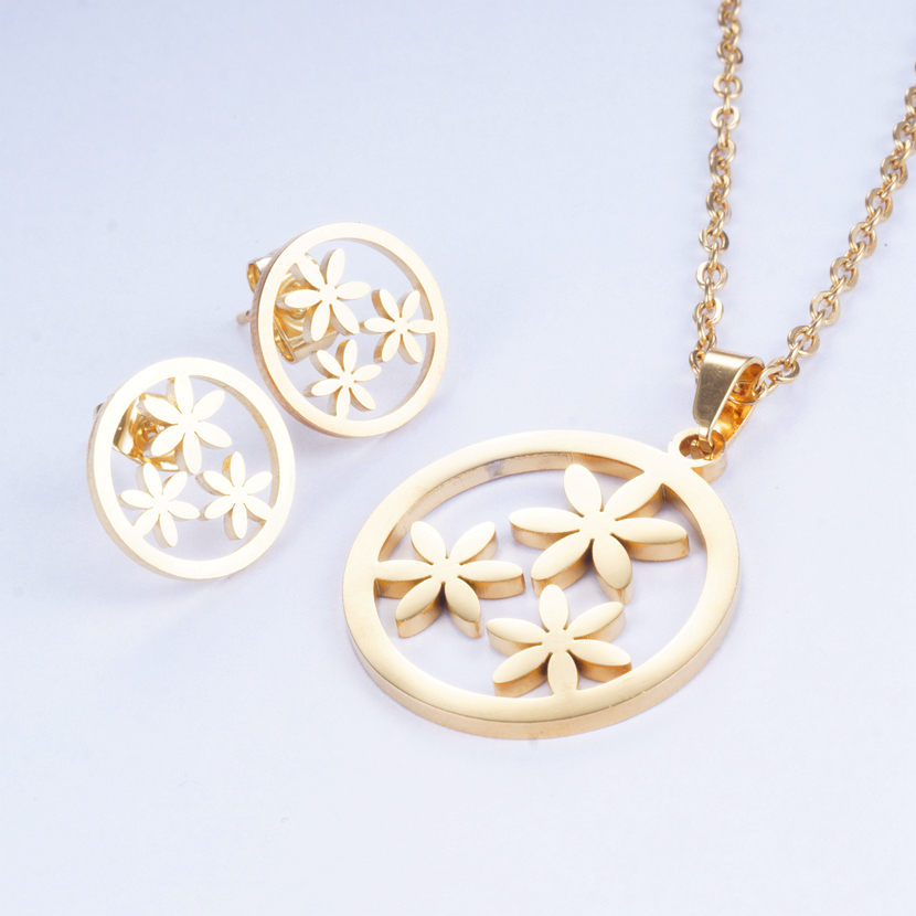 Yunkingdom Jewelry-Sets Necklaces Stainless-Steel Pendant Girls Fashion Titanium Metal